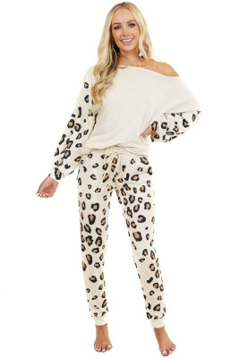 Leopard Print One Shoulder Lantern Sleeve Lounge Set