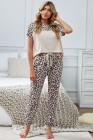 Leopard Splicing Short Sleeve Two Pieces Loungewear with Back Hollow-out