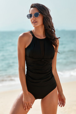 Black High Neck Plunge Mesh Ruched Tankini Swimwear