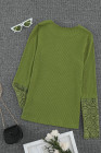 Green Crochet Lace Slee Sleeve Button Top