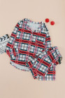 Conjunto de pijama navideño de botones a cuadros con cuello camisero rojo