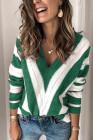 Вязаный свитер с V-образным вырезом и цветными блоками в зеленую полоску