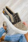 Khaki Snake Leopard Mixed Print Slip-on Canvas