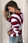 Вязаный свитер с V-образным вырезом и цветными блоками в красную полоску