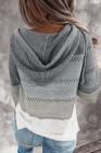 Colorblock Hollow-Out Knit Hoodie mit Reißverschluss vorne