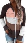 Brauner Colorblock Hollow-Out Strick Hoodie mit Reißverschluss vorne