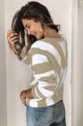 Вязаный свитер с V-образным вырезом в полоску цвета хаки