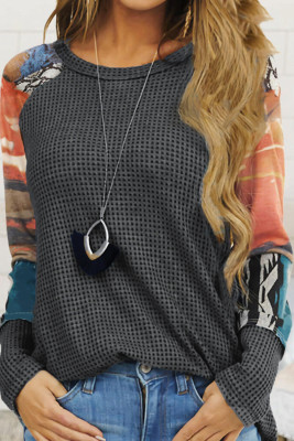 Gray Waffle Knit Tie Dye Print Splicing Raglan Sleeve Top