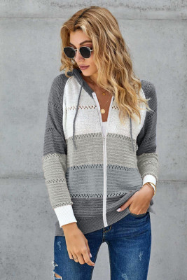 Zipped Front Colorblock Hollow-out Knit Hoodie