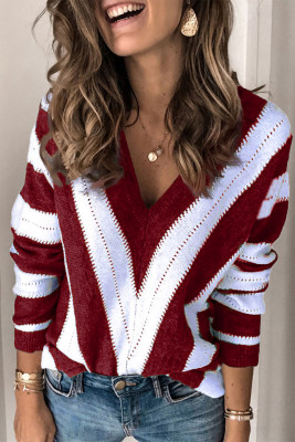 Red Striped Colorblock V Neck Knitted Sweater