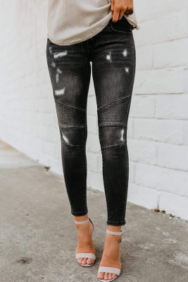 Black Distressed Patchwork Skinny Jeans