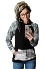 Camo Stripe Prints Spleißen Hoodie
