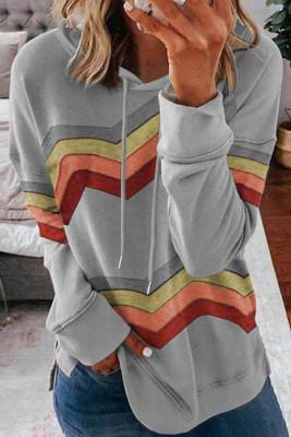 Sudadera con capucha gris con cordón de rayas en bloques de color de geometría