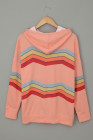 Pink Geometry Color Block Stripe Drawstring Hoodie