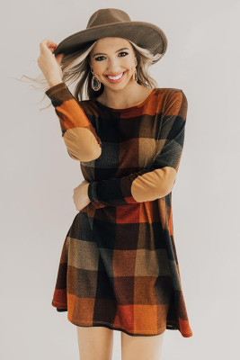 Brown Plaid Round Neck Long Sleeve Mini Dress