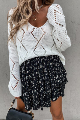 White Hollowed-out V-neck Knitted Sweater