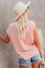 Pink Pocketed Tee with Side Slits