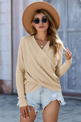Apricot Deep V-neck Long Sleeve Knit Sweater