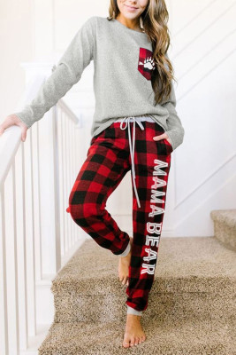 Red Letter Print Pocket Plaid Lounge Set