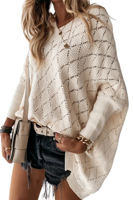 Apricot V-Neck Solid Hollow Bat Sleeve Sweater
