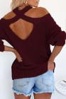 Suéter con hombros descubiertos de algodón Wine Cool Breeze