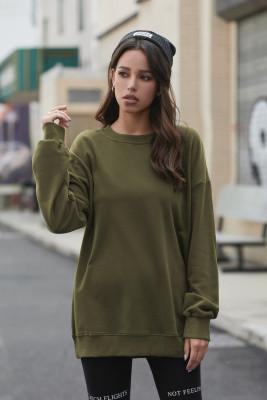 Grünes Langarm-Pullover-Sweatshirt mit Rundhalsausschnitt und Rundhalsausschnitt