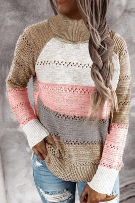 Suéter tipo jersey con cuello alto y bloques de color Highlight