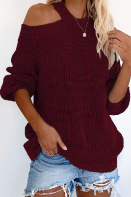 Wein Cool Breeze Baumwolle Cold Shoulder Sweater