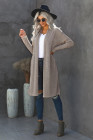 Beige Slouchy Pocketed Knit Longline Cardigan