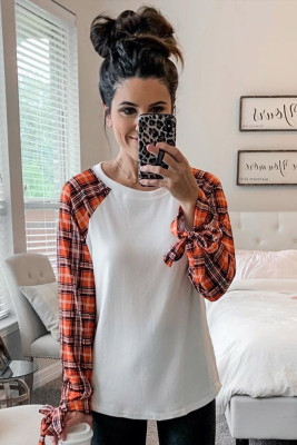 Orange Plaid Patchwork Long Sleeve Top with Cuff Bow