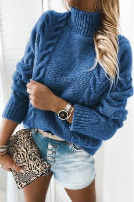 Blue High Neck Long Sleeve Sweater