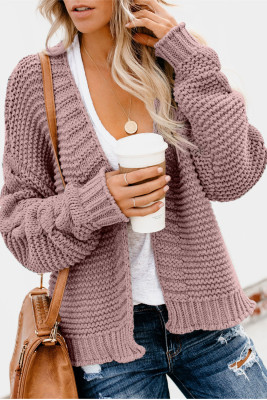 Pink Open Front Chunky Knit Cardigan
