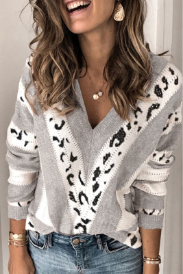 Gray Animal Print Accent V Neck Sweater