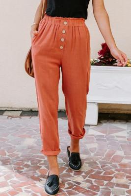 Orange Leinenmischung Taschenhose