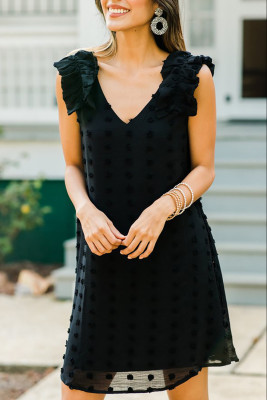 Black Swiss Dot V Neck Ruffled Sleeveless Mini Dress