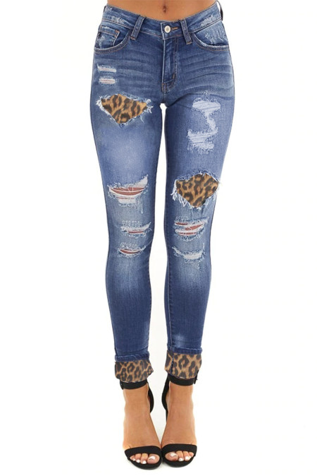 Blue Hollow Out Leopard Patchwork Distressed Jeans
