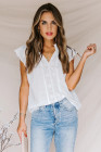 White Embroidered Eyelet Cap Sleeves Top
