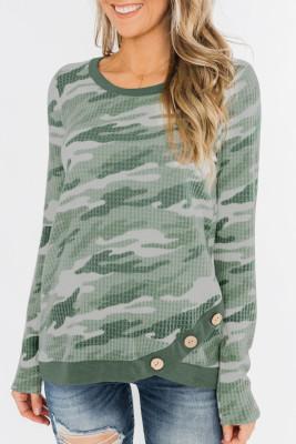 Green Camo Print Button Waffle Knit Long Sleeve Top