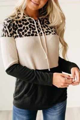 Leopard Color Block Langarm Hoodie mit Kordelzug