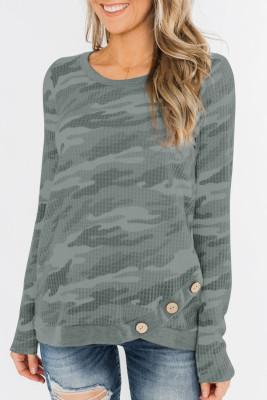 Grey Camo Print Button Waffel Strick Langarm Top