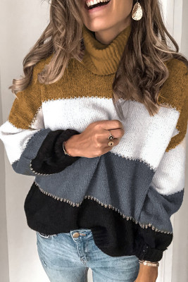 Black Accent Color Block Turtleneck Chunky Knit Sweater