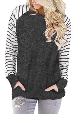 Graues gestreiftes Raglanärmel-Sweatshirt mit Taschen