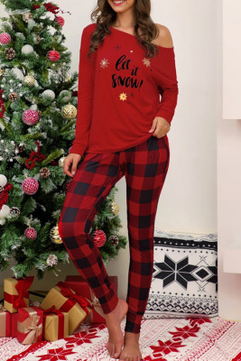 Red Christmas Letter Print Plaid Lounge Set