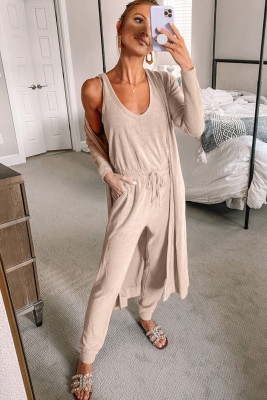 Khaki Sleeveless Drawstring Jumpsuit and Cardigan Loungewear Set