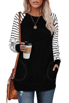 Schwarzes gestreiftes Raglanärmel-Sweatshirt mit Taschen