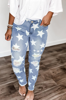 بنطال جينز ممزق بخصر متوسط
