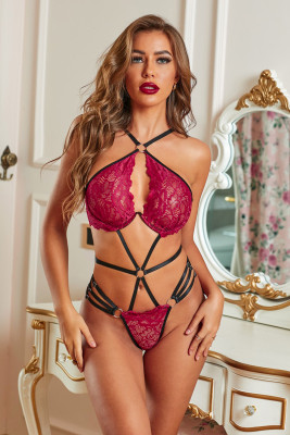 2pcs Strappy Hollow-out Lace Bralette and Thong Set