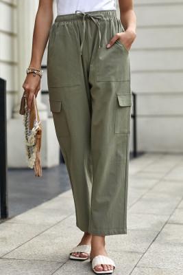 Pantalones cargo verde de mezcla de lino con bolsillos