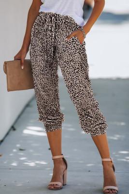Joggers con cordón y estampado de leopardo