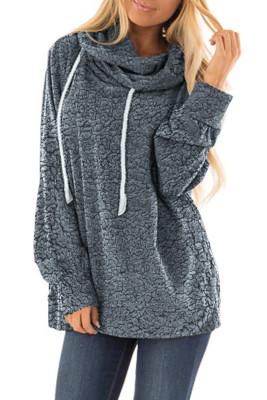Sudadera con capucha gris de felpa con cordón
